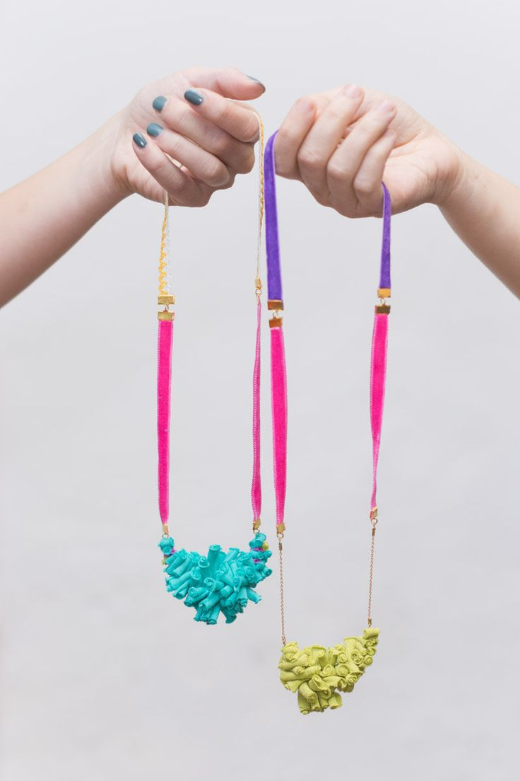 Textile  Necklace Light blue with Pink Velvet Ribbon and a Yellow Lace. €25.00, via Etsy.