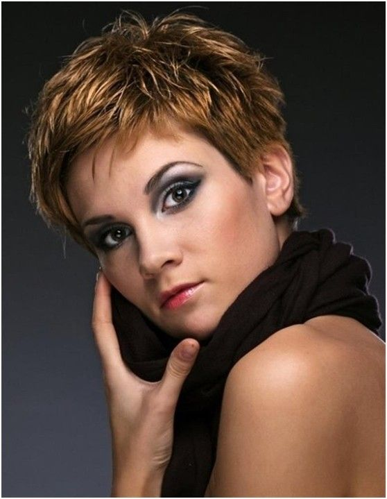 The short razor hairstyle is tapered into the back with different layers cut up to the top and a side forming the excellent appearance. The soft hair is cut very short all around her head, but slightly longer on the top to create added volume. The skillful layering creates depth and dimension to make the short hairstyle fuller. Besides, the layers can frame and lift facial features greatly. This short haircut exudes fashion, so this one can be a stunning option.