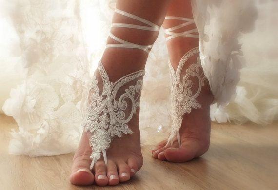 Free ship ivory Beach wedding barefoot sandals lariat  bangle beach anklets bangles bridal bride bridesmaid