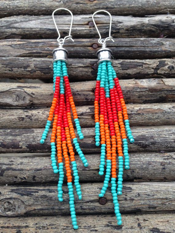 Turquoise Red and Orange Earrings Fringe by WildHoneyPieDesign