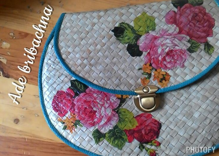 pandan clutch, with decoupage app