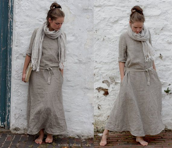Natural+Linen+Trapeze+Dress.+Maxi+by+KnockKnockLinen+on+Etsy,+£130.00
