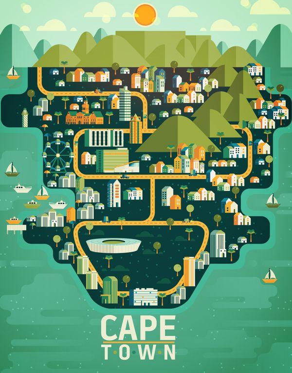 Aldo Crusher, est un illustrateur mexicain passionné par les villes. Il est à l'origine de la section « Cosmopolis » qu'il a imaginé pour le magazine Aire.  Voici ses illustrations colorées de Cape Town, New York, Madrid, Shanghaï ou encore Buenos Aires.   Une p