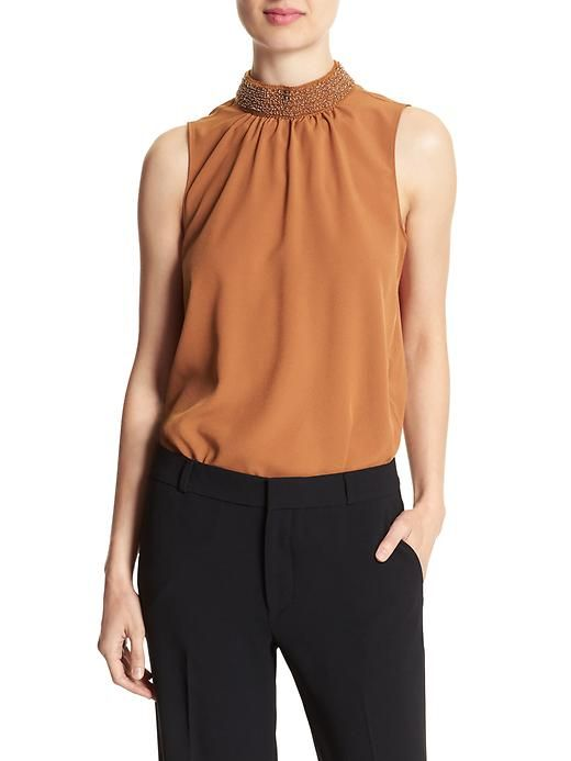 Beaded mock neck top, burnt ginger, petite L. 40% off clearance $45, reg65.  +add'l 15%off $150 coupon.