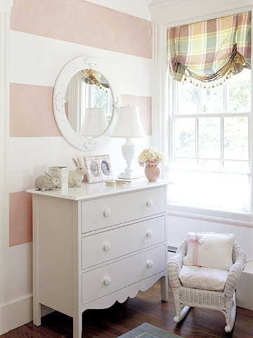 The article this was with was just about how to make a room seem larger by painting wide stripes, but I'm pretty sure this is the classiest baby girl room I have ever seen. I'm fairly certain I'm using this to the T when the time comes