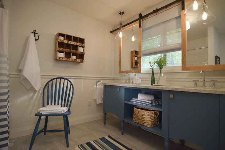 Navy Amp Gray Bathroom With Sink Under Window And Mirrors On