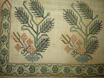 19th C ANTIQUE OTTOMAN-TURKISH  HAND EMBROIDERY ON LINEN 'YAĞLIK'