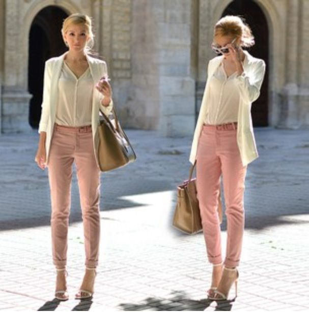 White blazer white chiffon shirt light pink pants - not skinny enough to pull this off but love the style