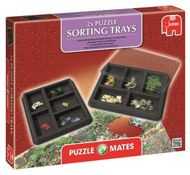 Whitcouls. Puzzle Mates Puzzle Sorting Trays .Each tray is devided into 5 compartments. Each light-weight, plastic, tray measures 260mm x 320mm.