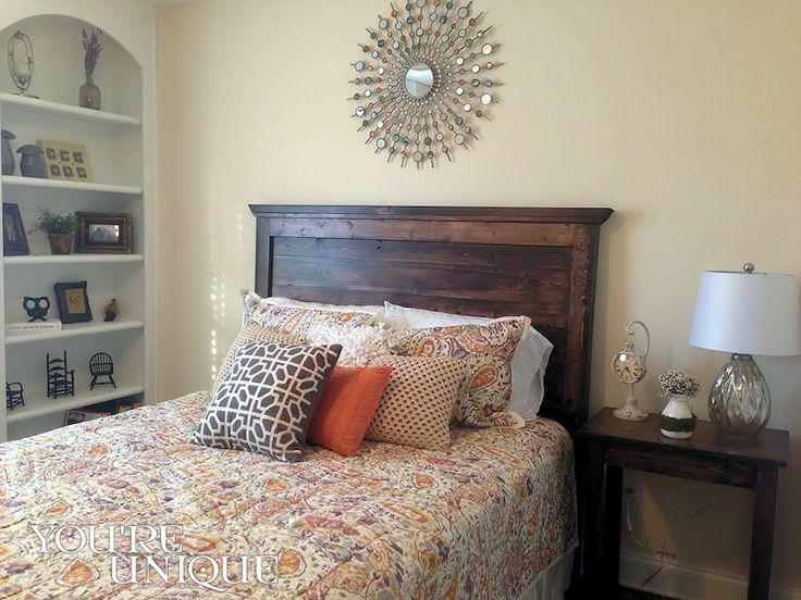 The Kellyn Headboard by You're Unique - Queen - BB Farmhouse Simple Bedside Table and Console - Kona - Made just for Jamie in Loganville, GA. Rustic mason style headboads and beds.  #potterybarnmasonheadboard #handcrafted #rusticheadboard #farmhousebedroom #cottagebedroom #craftsman #custommadeatlanta #potterybarnmasonheadboard #rusticheadboard #farmhousebedroom #cottagebed #liveunique #shopunique #supportlocal