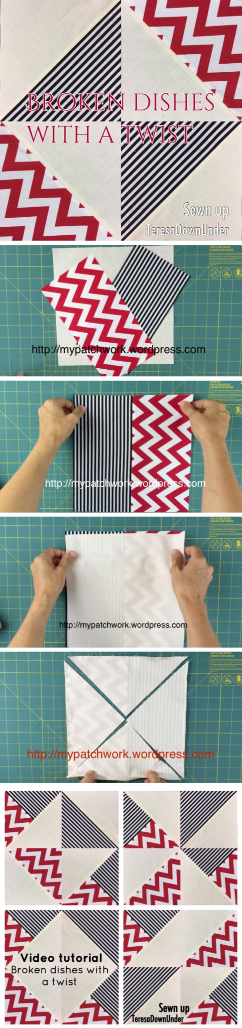 Video tutorial: Broken dishes with a twist - quick and easy quilt block