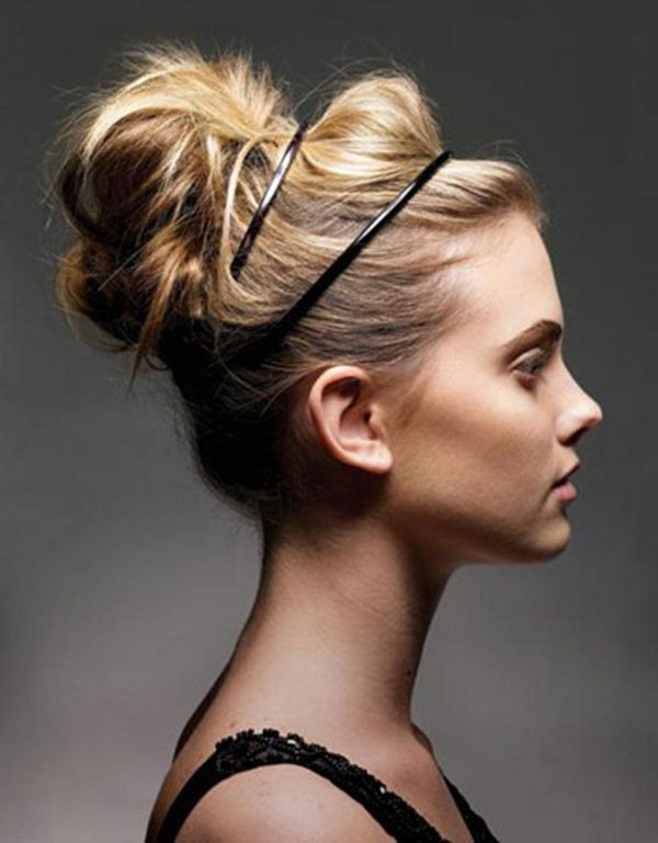 Add two headbands to your normal bun to make it cute for spring.