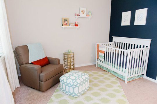 Robin Holiday's Nursery with a Bold Navy Accent Wall