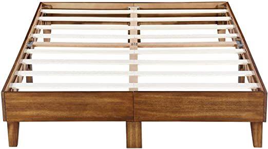 Sleeplace 14 Inch Wood Platform Bed Frame Queen 14sf05q Brown Wood Platform Bed Frame Steel Bed Frame Wooden Bed Frames Wood slat bed frame queen