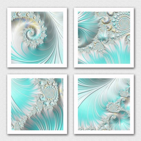 Sea foam green fractal print set light blue gren decor sea