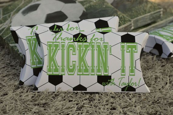 Soccer Party Favor Boxes 10 Personalized Pillow Boxes by SosiaToGo, $17.50