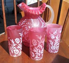 Fenton / L.G. Wright Satin Cranberry Daisy & Fern Pitcher + 3 Large Tumblers (325USD)