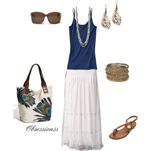 Navy and white... love the earrings: Peasant Skirt, Summer Outfit, Long Skirts, Dresses Skirts, Honeymoon Outfit, Summer Night, Sweet Summer