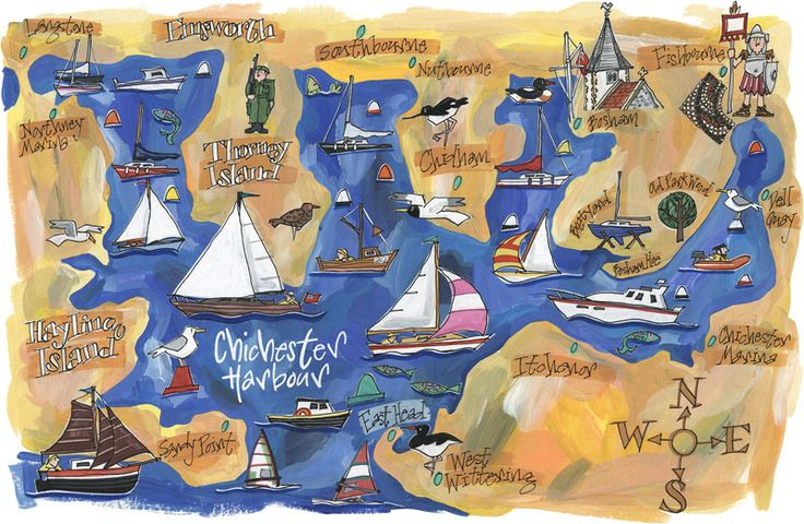 Chichester Harbour Print - including Thorney Island, which is a long way round when walking in baking heat!!
