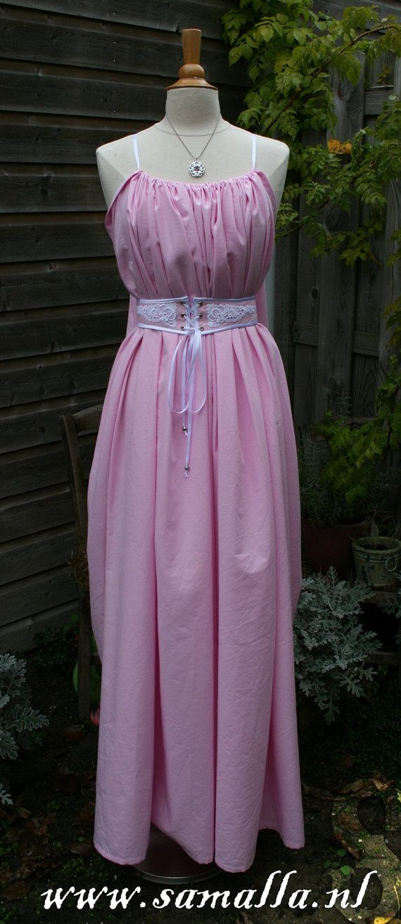 Shae Dress 'Erinys' in Pink Cotton White Satin and by SamallaNL