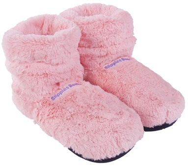 Fuzzy booties you can heat up in the microwave oven to keep your feet warm and cozy for hours in the cold winter nights :)