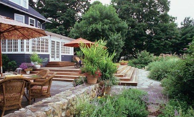 decks on sloped yard york landscaping ideas more pictures deck design northeast. Black Bedroom Furniture Sets. Home Design Ideas