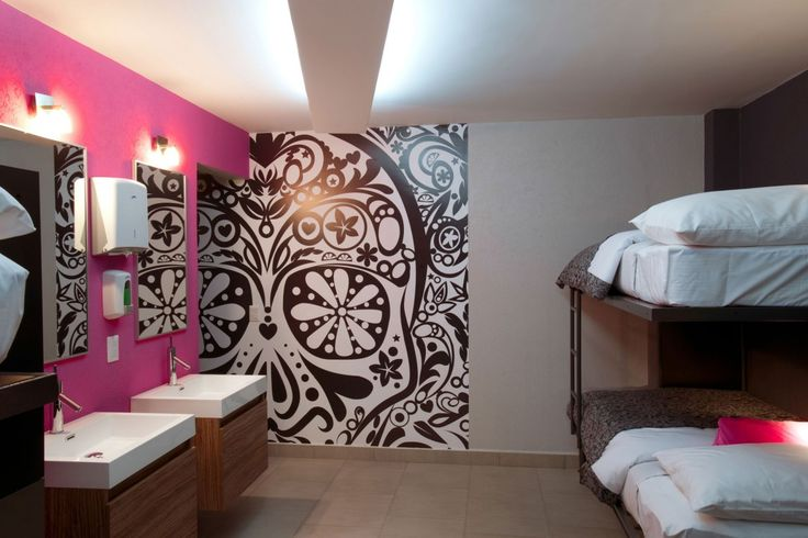 Sugar Skull Wall! If only....... I would love to decorate a bedroom's wall like this, black, white and hot pink! OH YEA!