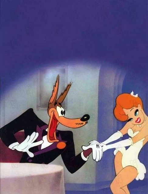 "Tex Avery's characters,  Wolfie and Red, also parodied years later by Jim Carrey and Carmen Diaz in ""The Mask""."