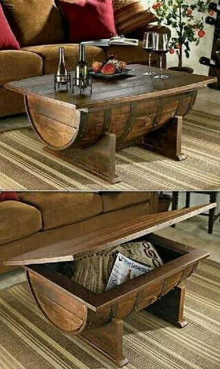 Wine barrel coffee table with storage