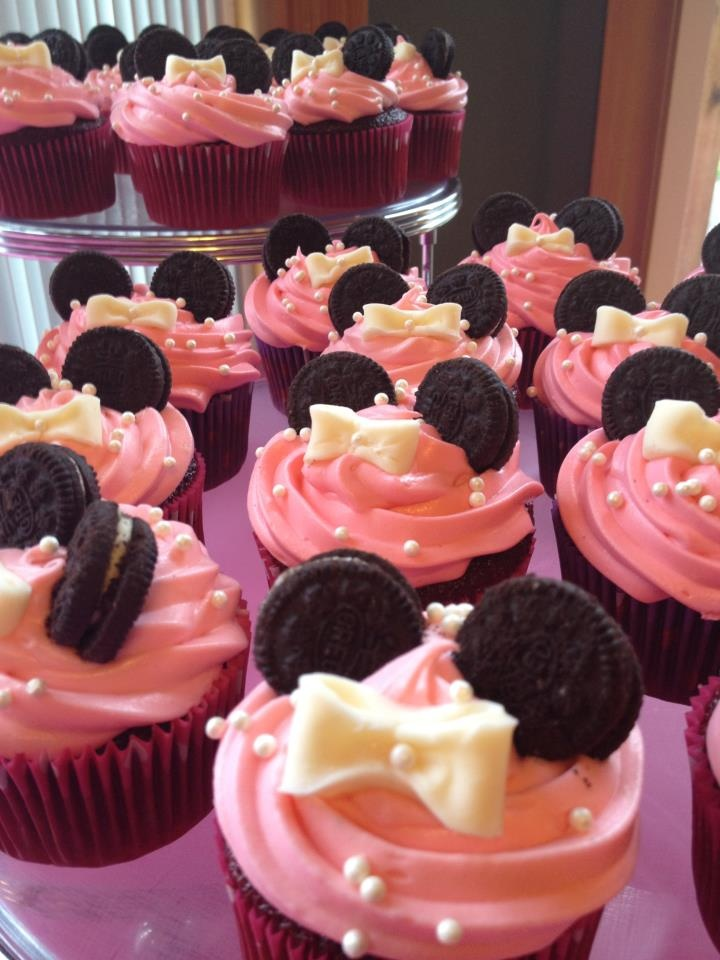 Minnie Mouse Cupcakes: Red Velvet Cupcakes with pink cream cheese frosting and