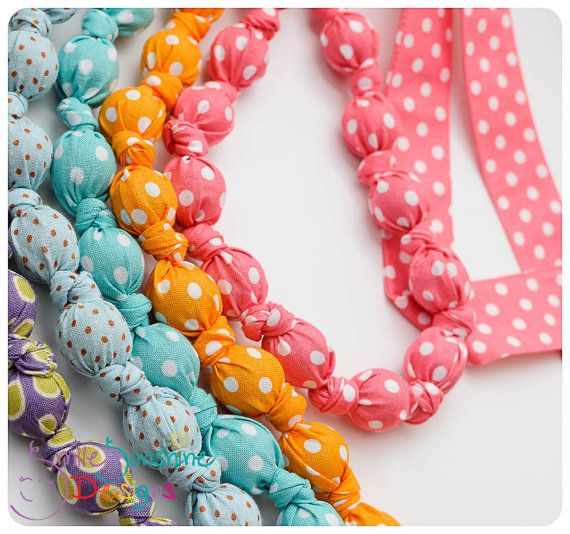 Polka Dot Nursing Necklace, Fabric Statement Necklace, Teething Necklace - For little nurslings, teethers and babywearers
