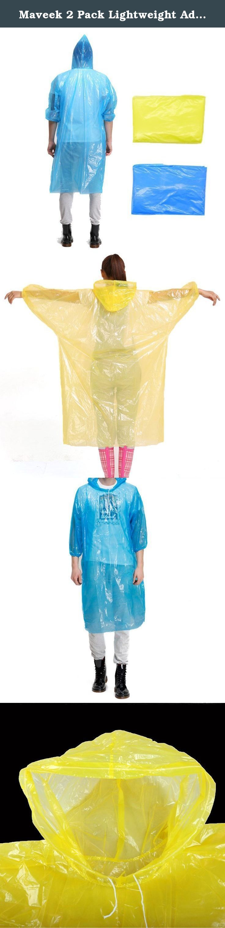 Maveek 2 Pack Lightweight Adult Emergency Hooded Raincoat disposable rain poncho For Festivals, Camping, Theme Parks (Blue+Yellow). Features: 1.Hat rope design, rope can be stretched to prevent rainwater from entering, gives you more care. 2.The arms have a light elastic band which is great for keeping the poncho off your hands and helps to make it fit. 3.Big size of the hat was designed to protect the head does not rain wet. 4.Unisex plastic disposable raincoat, ideal for events, parties...