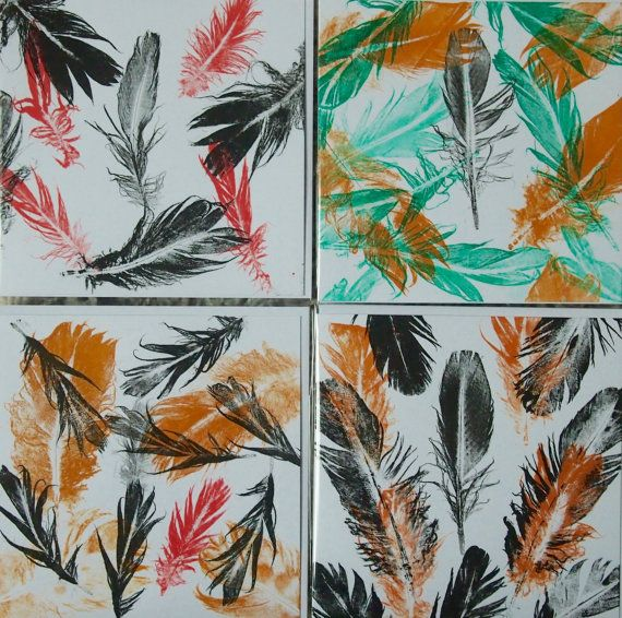 Hand printed 'Feathertaku' Colour Art Card by AmandaColouringIn