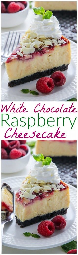 Creamy White Chocolate Cheesecake swirled with fresh raspberry all on top of a homemade chocolate cookie crust. This one is a showstopper!