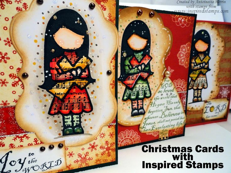 christmas cards, Inspiredstamps.blogspot.com, copic coloring, Hymn Girls: March, stamp set
