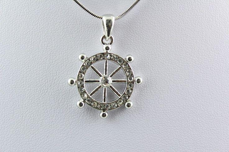 Nautical Ship Wheel Clear Crystal Silver Necklace Ocean /Beach Theme Necklace