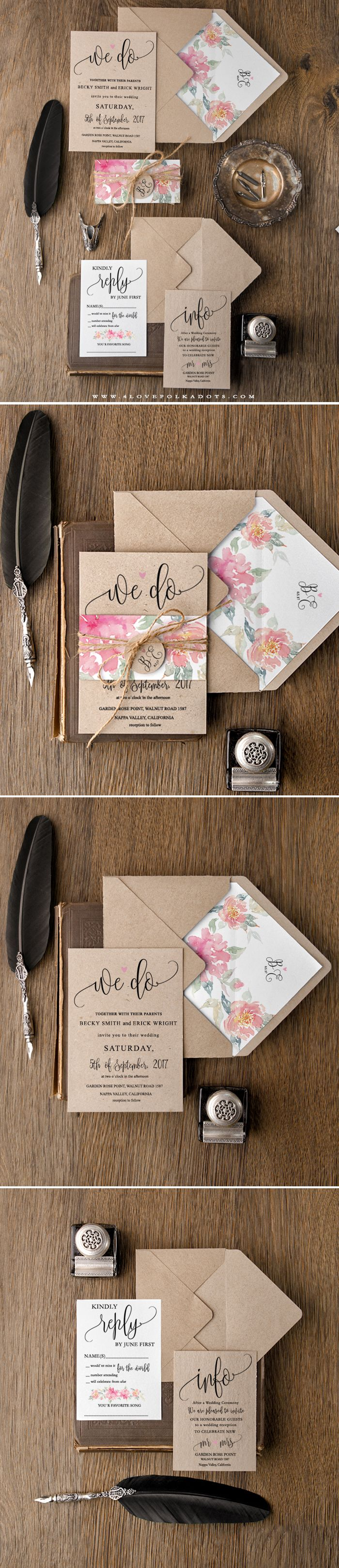 Floral Wedding Invitations - eco papers, flowers & calligraphy printing #flowerpower #summerwedding #weddingideas