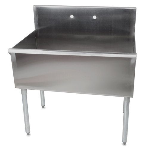 "Regency 36"" 16-Gauge Stainless Steel One Compartment Commercial Sink without Drainboard - 36"" x 24"" x 14"" Bowl"