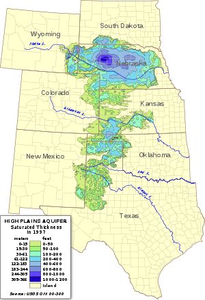 Ogallala Aquifer - is a vast underground water table. It is one of the worlds largest.  As you can see, Nebraska is almost completely over it.  How did it get it's name? In 1898 N.H. Darton named it after Ogallala, Nebraska.