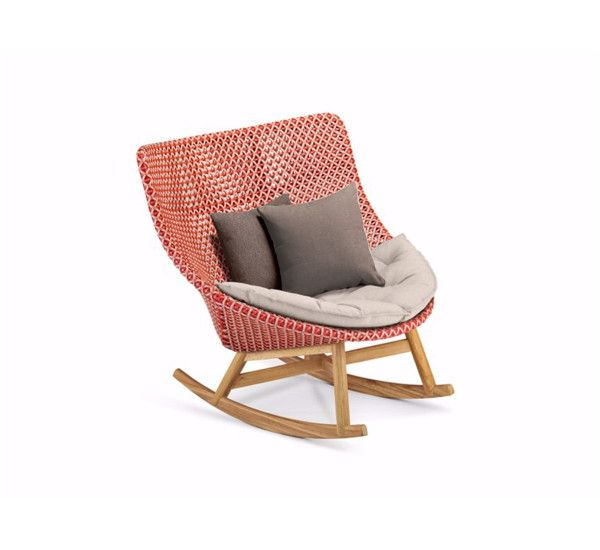 Designed by Sebastian Harkner for Dedon, Mbrace is an outdoor rocking chair with wicker frame with two deco cushions. Mbrace is a rocking chair to create a luxury garden, perfect for bringing to your garden a modern touch of style. Although primarily was born to the outdoor, it can easily be brought inside to give to the room a bit of tropical air. Mbrace is also available as armchair with high or low back, depending on your preference with the possibility of matching comfortable and…