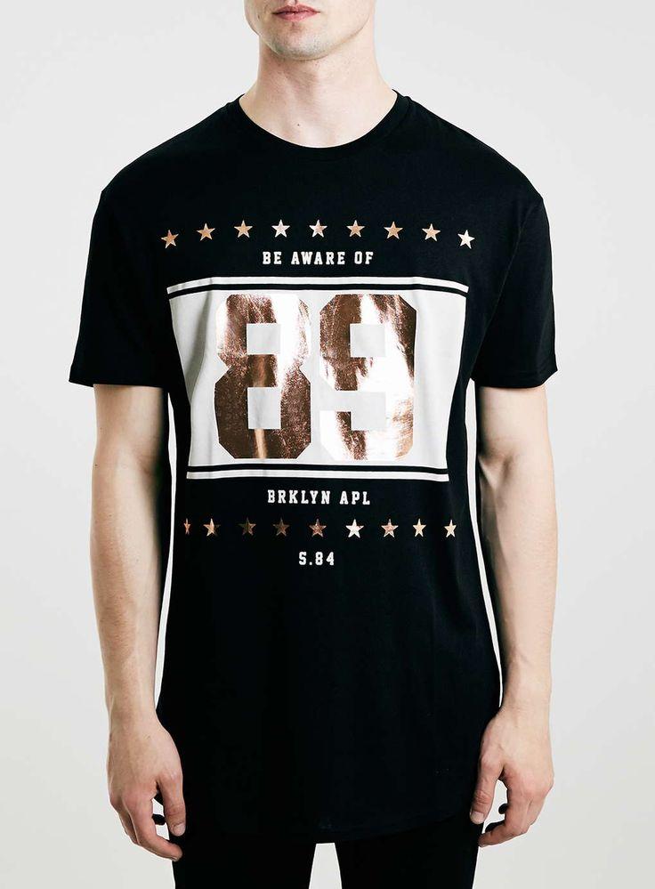 Black Cooper Longline 89 Print T-Shirt - Men's T-Shirts & Vests - Clothing - TOPMAN