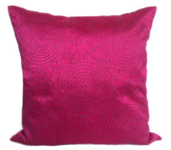fuschia pink kantha pillow kantha work by