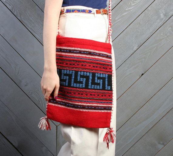 large vintage 70s woven greek bag, from my mothers tablecloth