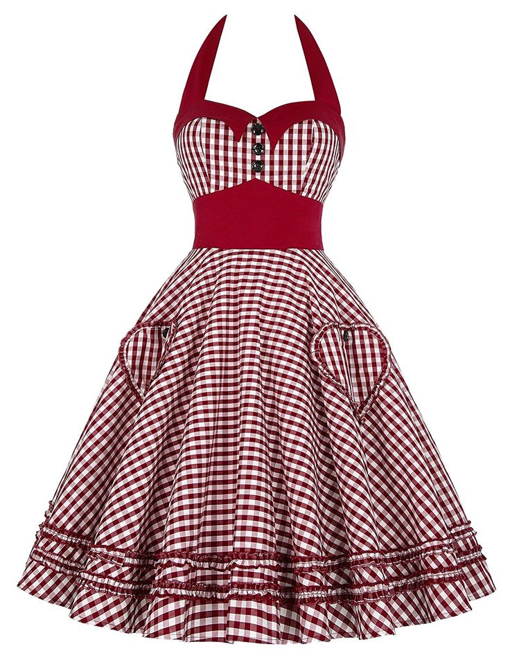 1940s 1950s Pinup Dresses for Sale GRACE KARIN Womens Halter Neck Vintage Cocktail Dress JS6091 $28.99 AT vintagedancer.com