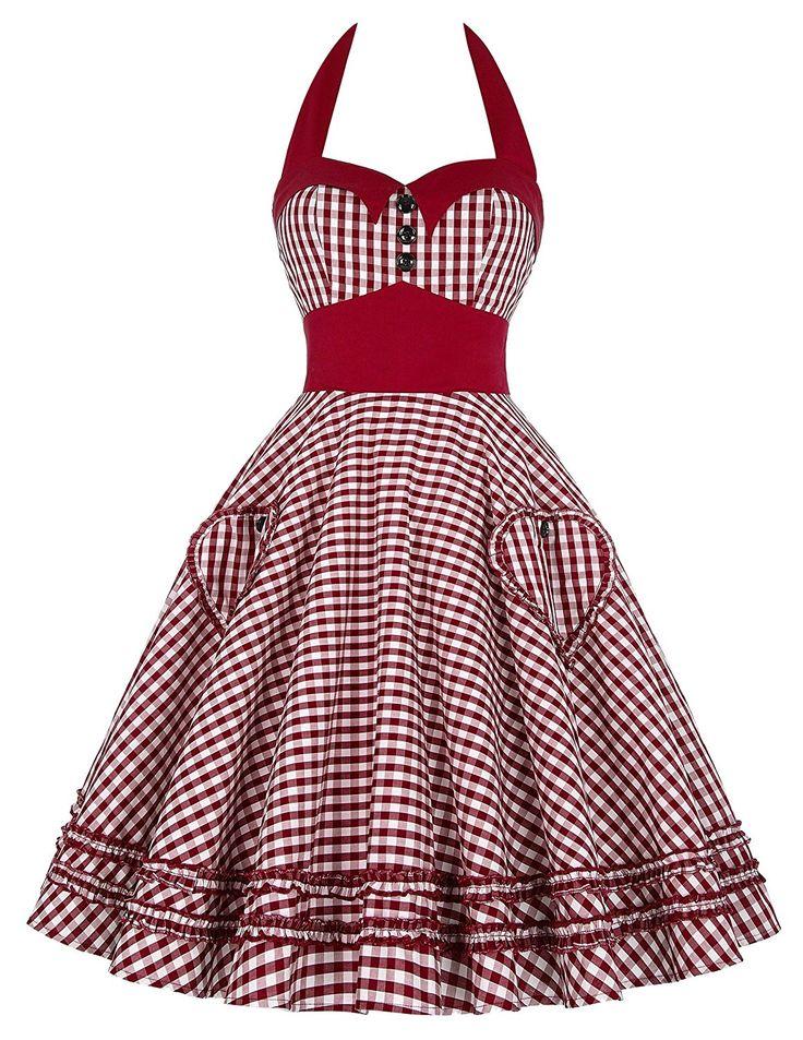 1940s 1950s Pinup Dresses for Sale GRACE KARIN Womens Halter Neck Vintage Cocktail Dress JS6091 $28.99 AT vintagedancer.com