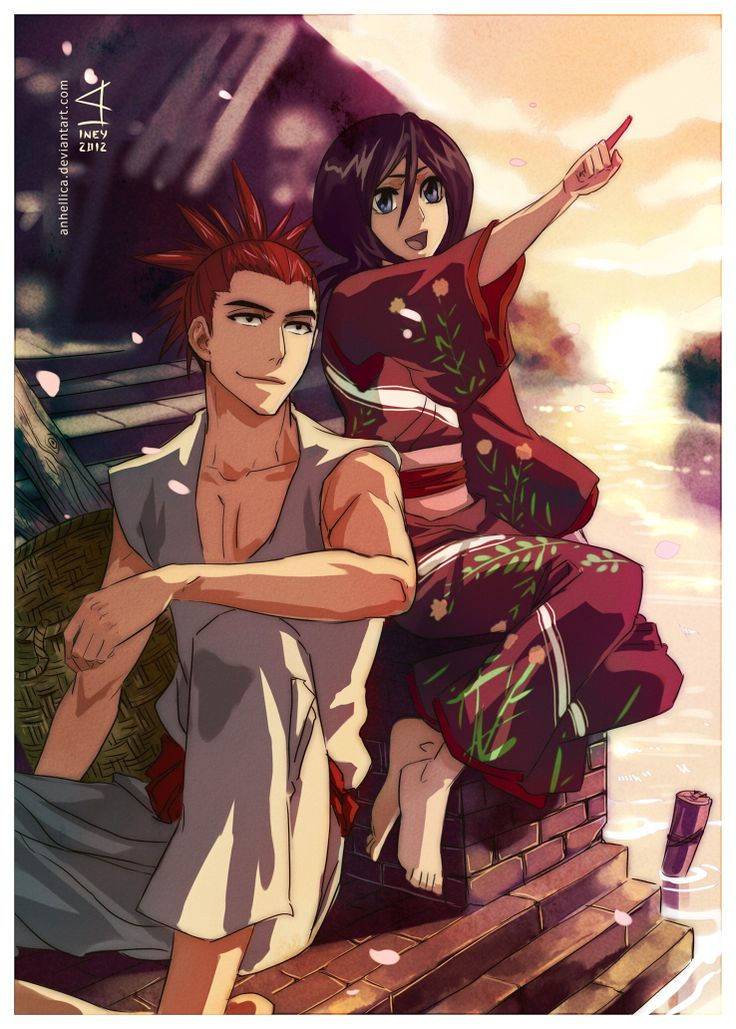 renji and rukia, i love how well developed all the bleach characters are,  with all their back stories