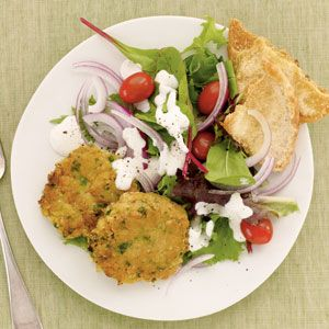 Layer these tasty chickpea patties over mixed salad greens and drizzle with dressing for a quick Mediterranean lunch or dinner. Serve with pita chips, if desired.