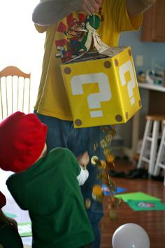 Fantastic homemade Mario party. Remember for goody bags, bags fillers, piñata and treats.