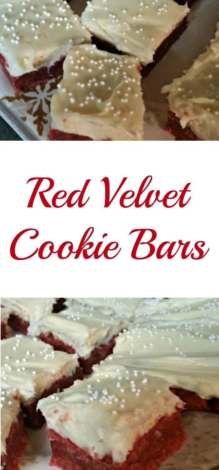 These red velvet cookie bars are perfect for a Valentine's Day or Christmas dessert!