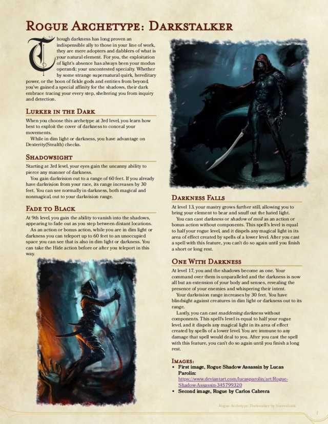 Rogue Archetype: Darkstalker (1st Draft) | Home brewing in